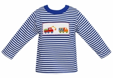 Anavini Toddler Boys Royal Blue Striped Shirt - Smocked Construction Trucks