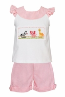 Anavini Toddler Girls Pink Check Shorts with Smocked Safari Animals Top