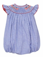 Anavini Velani Baby Girls Blue Check Smocked Flags Bubble