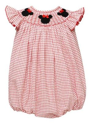 Anavini Velani Baby Girls Red Check Smocked Mouse Ears Bubble