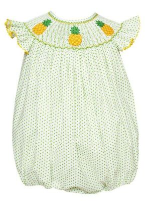 Anavini Velani Baby Girls White / Green Dots Smocked Pineapples Bubble