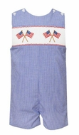 Anavini Velani Baby / Toddler Boys Blue Check Smocked Flags Jon Jon