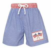 Anavini Velani Baby / Toddler Boys Blue Check Smocked Patriotic Flags Swim Trunks