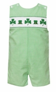 Anavini Velani Baby / Toddler Boys Green Check Smocked St. Patrick's Day Shamrocks Jon Jon
