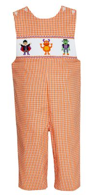 Anavini Velani Baby / Toddler Boys Orange Check Smocked Halloween Monsters Longall