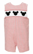 Anavini Velani Baby / Toddler Boys Red Check Smocked Mouse Ears Jon Jon