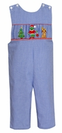 Anavini Velani Baby / Toddler Boys Royal Blue Check Smocked Grinch Longall