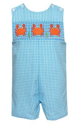 Anavini Velani Baby / Toddler Boys Turquoise Blue Check Smocked Crabs Jon Jon