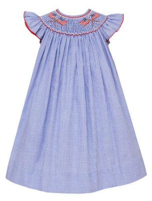 Anavini Velani Baby / Toddler Girls Blue Check Smocked Patriotic Flags Bishop Dress