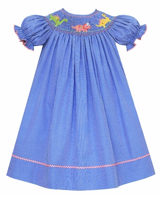 Anavini Velani Baby / Toddler Girls Blue Checked Smocked Dinosaurs Bishop Dress