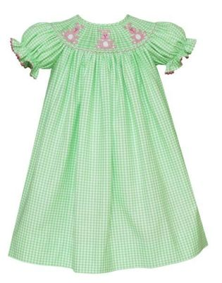 Anavini Velani Baby / Toddler Girls Green Check Smocked Pink Easter Bunnies Dress
