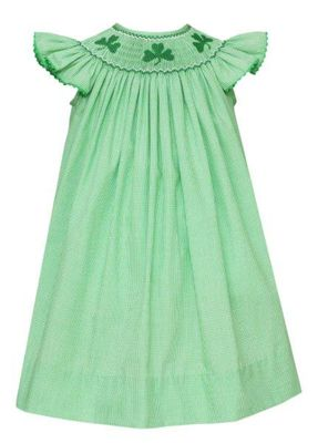 Anavini Velani Baby / Toddler Girls Green Check Smocked St. Patrick's Day Shamrocks Bishop Dress