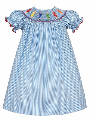 Anavini Velani Baby / Toddler Girls Periwinkle Blue Check Smocked Colored Pencils School Dress