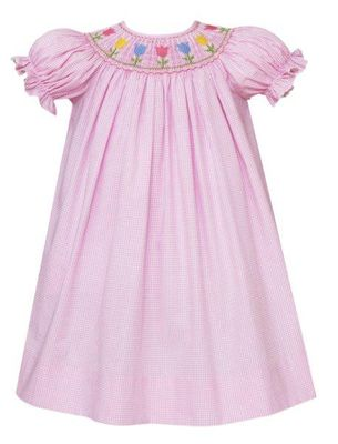 Anavini Velani Baby / Toddler Girls Pink Check Smocked Tulips Bishop Dress