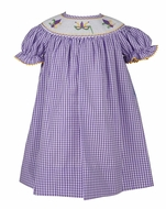 Anavini Velani Baby / Toddler Girls Purple Check Smocked Mardi Gras Dress - Exclusively for The Best Dressed Child