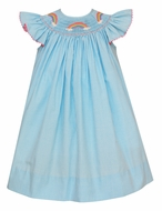 Anavini Velani Baby / Toddler Girls Turquoise Blue Check Smocked Rainbow Bishop Dress
