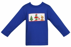 Anavini Velani Boys Royal Blue Smocked Grinch Shirt