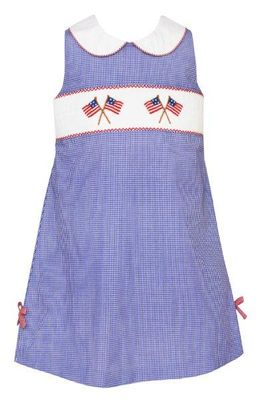 Anavini Velani Girls Blue Check Sleeveless Dress with Bows - Smocked Flags