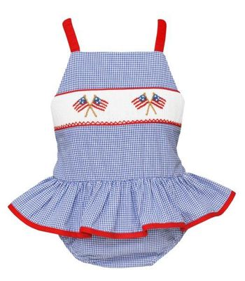 Anavini Velani Girls Blue Check Smocked Patriotic Flags Ruffle Swimsuit