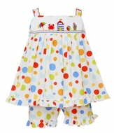 Anavini Velani Girls Colorful Dots Smocked Beach Cabana Short Set
