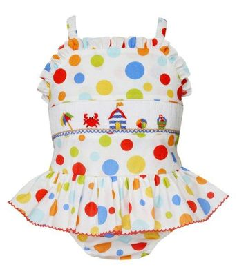 Anavini Velani Girls Colorful Dots Smocked Beach Cabana Swimsuit