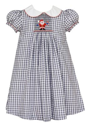 Anavini Velani Girls Gray Check Smocked Santa Claus Float Dress with Collar