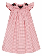 Anavini Velani Girls Red Check Smocked Mouse Ears Bishop Dress