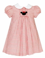 Anavini Velani Girls Red Check Smocked Mouse Ears Dress with Collar