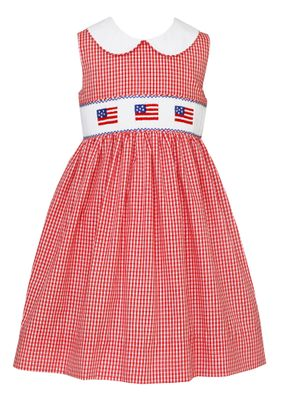 Anavini Velani Girls Red Check Smocked Patriotic Flags Sun Dress with White Collar