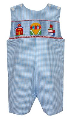 Anavini Velani Toddler Boys Blue Gingham Smocked School Crayons Jon Jon