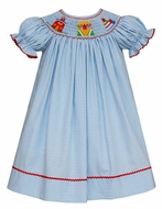 Anavini Velani Toddler Girls Blue Gingham Smocked Back to School Crayons Dress