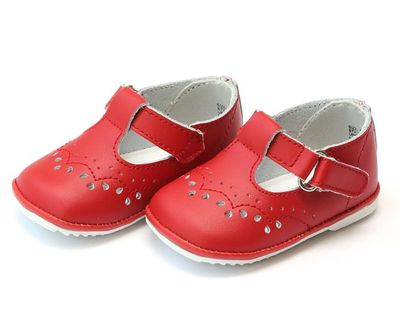 L'Amour Angel Baby / Toddler Girls Leather T-Straps Shoes - Red