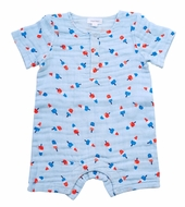 Angel Dear Baby Boys Blue Astro Pops Romper with Short Sleeves