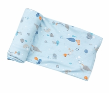 Angel Dear Baby Boys Blue Happy Ocean Print Swaddle Blanket