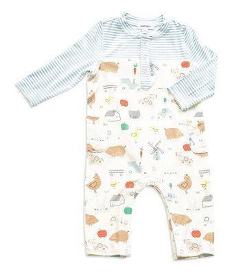 Angel Dear Baby Boys Blue Little Farm Overall Romper