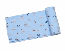 Angel Dear Baby Boys Blue Llama Print Swaddle Blanket