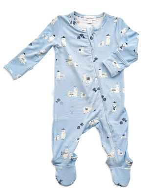 Angel Dear Baby Boys Blue Llama Zipper Footie