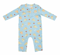 Angel Dear Baby Boys Blue Pizza Romper with Pockets