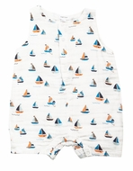 Angel Dear Baby Boys Blue Sailboats Sleeveless Romper