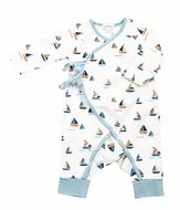 Angel Dear Baby Boys Blue Sailboats Wrap Coverall Romper