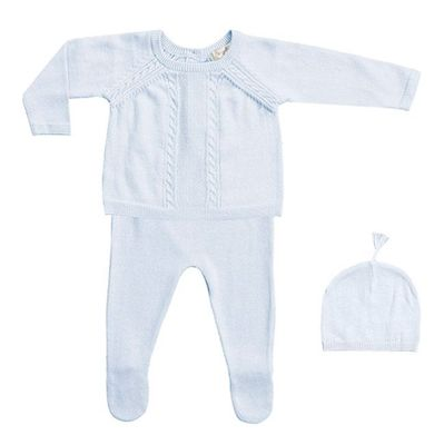 Angel Dear Baby Boys Cable Take Me Home 3 Piece Set - Powder Blue