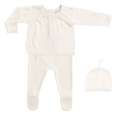 Angel Dear Baby Boys Cable Knit Take Me Home 3 Piece Footie Set - Ivory