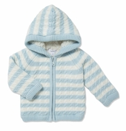 Angel Dear Baby Boys / Girls Sherpa Zip Hoodie Jacket - Blue Stripe