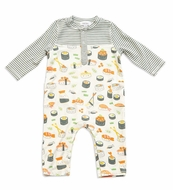 Angel Dear Baby Boys Gray Stripe Sushi Print Romper