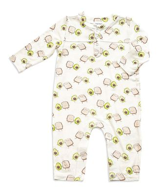 Angel Dear Baby Boys Green Avocado Toast Romper