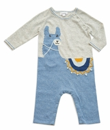 Angel Dear Baby Boys Llama Knits Alpaca Romper - Blue