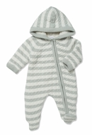 Angel Dear Baby Boys Sherpa Hooded Footie - Grey Stripe