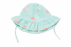 Angel Dear Baby Girls Aqua Flamingo Muslin Sun Hat