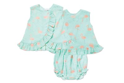 Angel Dear Baby Girls Aqua Muslin Flamingo Ruffle Back Bloomers Set