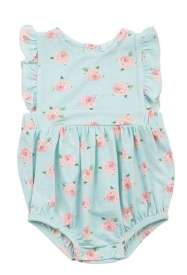Angel Dear Baby Girls Aqua Petite Rose Ruffle Sunsuit